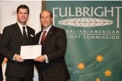 Dr Viete receiving his Fulbright Scholarship from US Ambassador to Australia, Jeffrey Bleich.