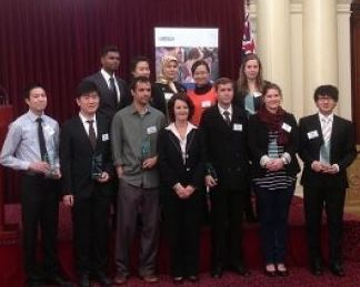Naveen Jason and Chung Chuo (front row, left) with The Hon Louise Asher MP and fellow scholarship recipients.